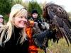 MC Swab smiles at Red-tailed Hawk